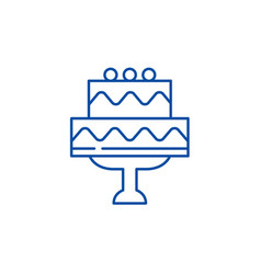 cute wedding cake line icon concept cute wedding vector image