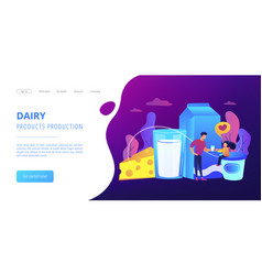 Dairy products concept landing page vector
