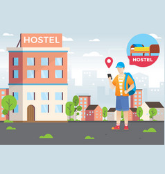 design concept hotel search and booking online vector image