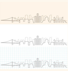 detroit hand drawn skyline vector image