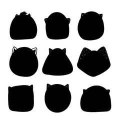Doodle silhouettes of cats vector