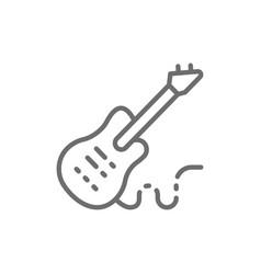 electronic bass guitar music instrument line icon vector image