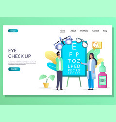 Eye check up website landing page design vector