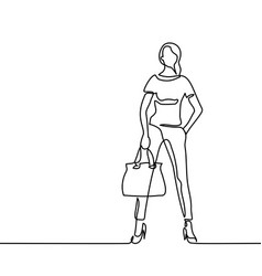 fashion standing woman with bag vector image vector image