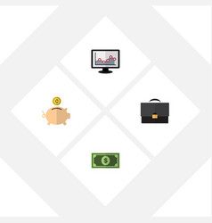 flat icon gain set of chart money box greenback vector image