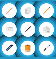 Flat icon stationery set of letter pencil nib vector