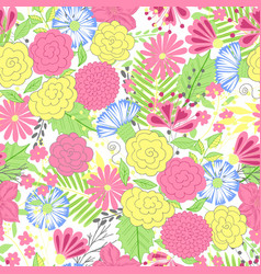 flower pattern colorful seamless botanic vector image