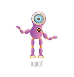 funny cartoon purple friendly robot vector image