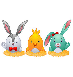 Funny easter eggs with rabbit ears in the nest vector