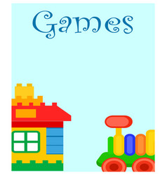Games for children poster with house and train vector