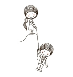 girl Holds boy on cliff with rope vector image