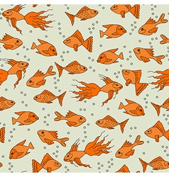 Gold fish in water seamless pattern vector