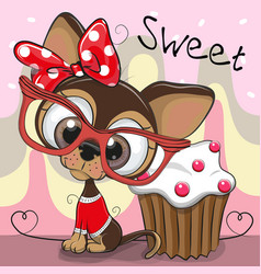 Greeting card cute puppy with cake vector