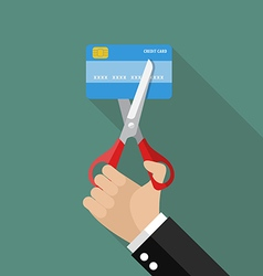 Hand cutting credit card vector