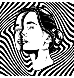 Hand drawn of young beautiful woman template for vector