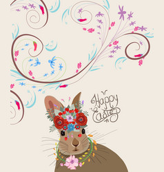 happy easter with rabbit doodle florals vintage vector image