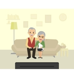 Happy grandparents sitting at home and watching a vector image