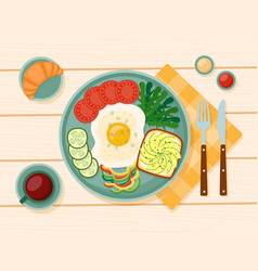 healthy breakfast fried egg greens vegetables vector image