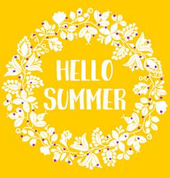 hello summer wreath sunny yellow card vector image