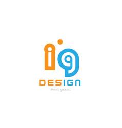 Ig i g orange blue alphabet letter logo vector