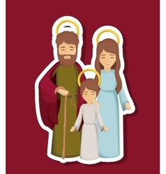 Jesus mary and joseph cartoon design vector