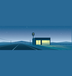 Lonely road and restaurant at night scene vector