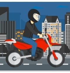 Man riding motorcycle vector image