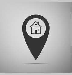 Map pointer with house icon home location marker vector