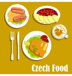 Meat dishes and drink of czech cuisine vector