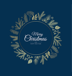 Merry christmas abstract card with frame xmas vector
