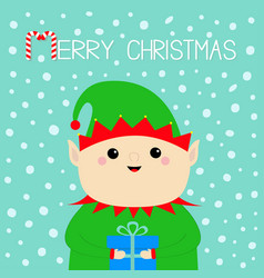 merry christmas santa claus elf face holding gift vector image