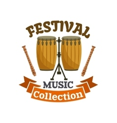 Musical drums Music festival emblem vector
