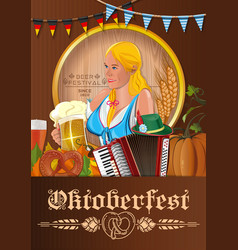 oktoberfest poster with german cute girl vector image