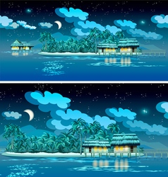 paradise islands at night vector image