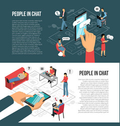 People chatting online isometric banners vector