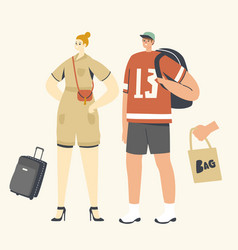 people with bags concept woman with reticule man vector image