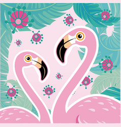 Pink flamingo couple cool flamingo decorati vector