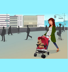 pregnant woman walking with her dog and a vector image