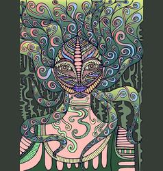 Psychedelic fairy shaman surreal fantasy doodle vector