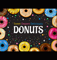 realistic donuts frame vector image