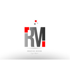 Red grey alphabet letter rm r m logo combination vector