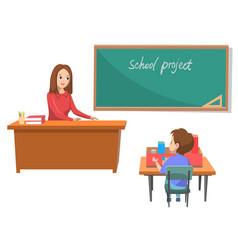 School project teacher and schoolboy in class vector