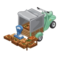 Selling onion harvest from scooter vector
