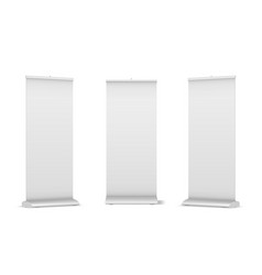 Set blank roll-up pop-up or pull-up banner vector