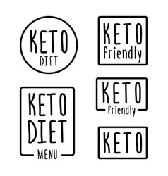 set hand drawn emblem or logo keto diet in linear vector image