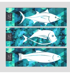 Set of triangle grometric banners with fish vector image