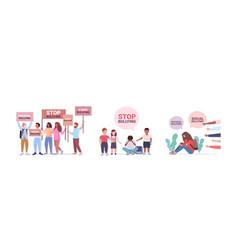 Set stop bullying violence social anxiety vector
