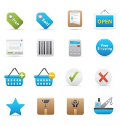 shopping icons indigo vector image