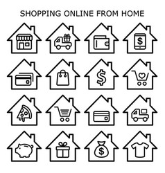 Shopping online from home icons set online vector