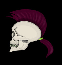 skull with mohawk hair style isolated vector image